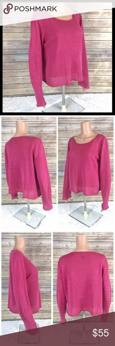 eileen fisher // 100% linen pink sweater Such a lovely layer for the season! 100% linen. Long sleeves. A slightly oversized, drapey fit. Great preowned condition. Please note 100% linen fabric is naturally a little slubby and uneven. Color is medium pink. Eileen Fisher Sweaters Crew & Scoop Necks