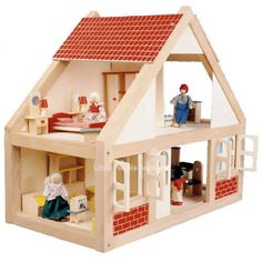 Classic Dollshouse Wooden Complete With Furniture & Family Dolls 1:12th Scale