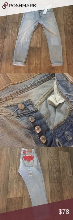"""NWT C&T 501 Levi's Jeans 25x32 I adore these jeans so much. If they don't sell quick I'm happily keeping them! These Levi's are customized and tapered, factory distressed and have a button fly. The waist is 25"""" and inseam is 32"""" according to the tag but I measured 24"""" IF YOU NEED MORE PICTURES PLEASE COMMENT OF WHERE AND I WILL TAKE THEM. DO NOT BUY ANY LISTINGS FROM ME IF YOU HAVE ANY QUESTIONS WITHOUT ASKING FOR PICTURES TO CLARIFY. THANK YOU FOR YOUR HELP TO HAVE CLEAR COMMUNICATION…"""