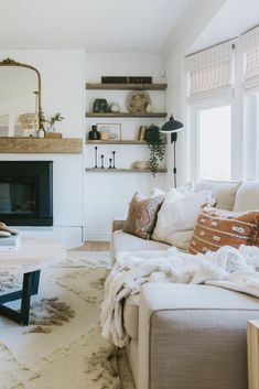 How We Built our mantle for under 75 dollars and our custom Beachwood stain. New Living Room, Home And Living, Living Room Decor, Living Area, George Nelson, Living Room Inspiration, Home Decor Inspiration, Decor Ideas, Wood Mantle Fireplace