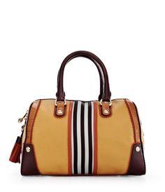 Brown & White Plus Barrel Bag by Henri Bendel