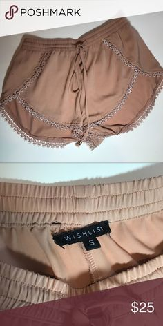 Boho festival shorts Beautiful silk boho shorts. Lace detailing. In great condition. Really cute on and make a great summer look!!   •all offers 100% welcomed and encouraged (:  •put this in a bundle and get 20% off  • I'll ship orders within 1-2 days unless otherwise stated   Have a great day and enjoy shopping my closet ! Shorts