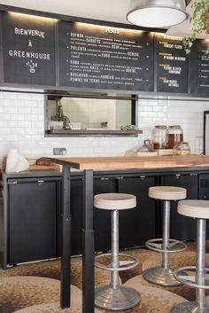 GreenHouse: A Natural Wine Bar in Paris, Botanical Edition - Remodelista Sandwich Bar, Sandwich Shops, Bakery Menu, Restaurant Menu Design, Cafe Restaurant, Cafe Menu Boards, Menu Board Design, Greens Restaurant, Green Cafe