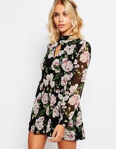 Fashion Union Long Sleeve Romper In Floral Print