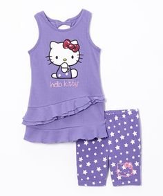 Take a look at the Dahlia Purple Hello Kitty Tunic & Shorts - Toddler & Girls on #zulily today!