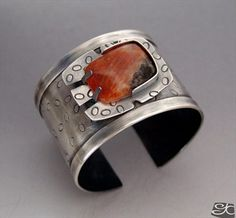 By Gisela Kati - Handmade contemporary sterling silver cuff bracelet with Orange calcite rectangular cabochon set with a 1/2 bezel and tabs.