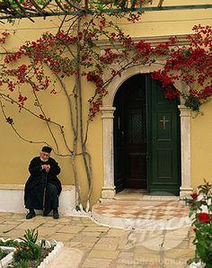 Photo Mug-Resident monk at chapel door, Paleokastritsa Monastery, Corfu, Ionian Islands-Ceramic dishwasher safe mug made in the UK Corfu Greece, Mykonos Greece, Athens Greece, Santorini, Corfu Town, Corfu Island, Greek Isles, Greece Islands, Greece Travel