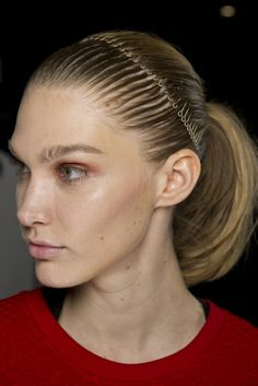 Lunar Abstract, hair look by Eugene Souleiman at Helmut Lang #AW14. #nyfw