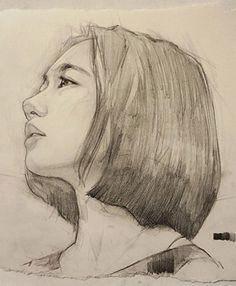 Dika Toolkit, beautiful female profile portrait sketch