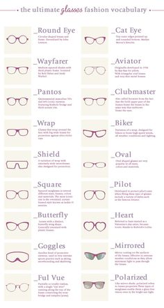 The ultimate glasses fashion vocabulary Source: Enerie Fashion More Visual Glossaries (for Her): Backpacks / Bags / Beads / Bobby Pins / Boots / Bra Types / Belt knots / Chain Types / Coats / Collars / Darts / Dress Shapes / Dress Silhouettes /...