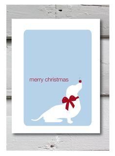 Christmas Card with Sausage dog