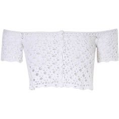 White Crochet Bardot Crop Top (49 NZD) ❤ liked on Polyvore featuring tops, crop top, white, bohemian tops, white top, button down top, white summer tops and crochet top