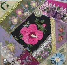 I ❤ crazy quilting, beading & ribbon embroidery . . . Crazy quilting for my children- Silk Ribbon Roses This is one of 3 blocks made for my children. They will each have one and they will be reminded of me and our garden ~By wagonwife