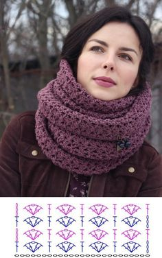 Crochet Scarf Diagram, Crochet Cowl Free Pattern, Crochet Patterns, Crochet Shawls And Wraps, Crochet Scarves, Knitting Stitches, Neck Warmer, Scarf Wrap, Ideas