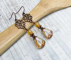 Copper Earrings Gold Earrings Topaz Earrings by SmockandStone