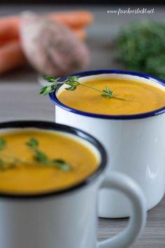 Frisch Verliebt: Süßkartoffel-Karotten-Suppe mit Kokosmilch und Ingwer