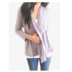 """Pure Jill Lavender T-shirt Cardigan This cardigan is lighter material that is almost like a thicker t-shirt style w/stretch, it's a nice cardigan for Spring.. {actual color of item may vary slightly from photos}  •shoulders:16"""" •chest:20"""" •waist:18.5""""w •length:25.5"""" •sleeve:18""""  Material:100% Prima cotton  ️machine wash  Fit:true Condition:no rips no stains  ❌no holds ❌no trades ♥️️bundles of 3/more items get 20% off PureJill Sweaters Cardigans"""