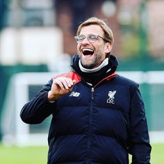 The boss in great spirits during training!  #LFC