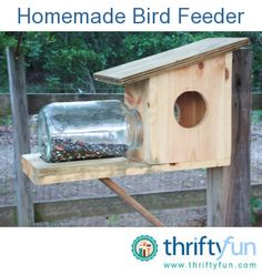 Here is a bird/squirrel feeder hubby made for our yard. Although the design is not his own, he saw one in his customers yards and came home, made it out of scrap wood (leftover from a boat he is working on), and a large pickle jar we had in the house.