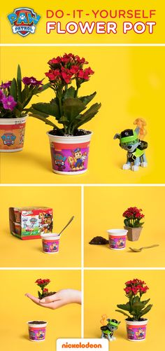 Teach kids about caring for the environment with this fun, DIY Spring activity! This flower pot craft is a great spring activity for you and your PAW Patrol fan to do together. Plus, it's environmentally friendly AND cost-efficient. As Rocky says, don't lose it, reuse it! This is the perfect opportunity to teach your kid about nurturing and responsibility by watering your plant together every few days.