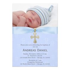 Baptism Blue Cross with photo Personalized Invitation