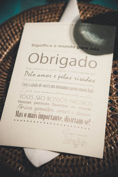 Cartão de Agradecimento em cada mesa dos convidados