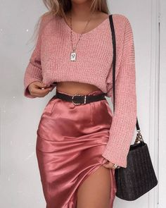 No such thing as too much pink 💖💘💕 in our 'Be Warm Velvet Knit Sweater In Blush' + 'Creating Art Skirt In Dusty Rose Satin'… Mode Outfits, Girly Outfits, Cute Casual Outfits, Fashion Outfits, Womens Fashion, Classy Outfits For Going Out, Hijab Fashion, School Outfits, Chic Outfits