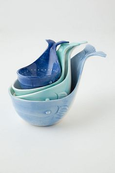 Cute measuring cups;  anthropologie; kitchen; decor; home; whales; moby dick; blue; whimsical; baking; spoon