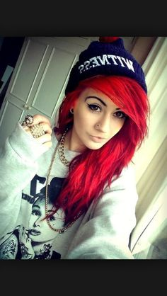 This red really suits this girl, not sure this shade would work in my hair though