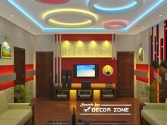 Living Room False Ceiling Designs With Colorful POP Circles