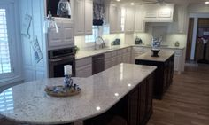 Snow dawn White granite with a custom round island bar