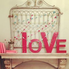 DIY Valentine Mantle - love the DIY pink books!!