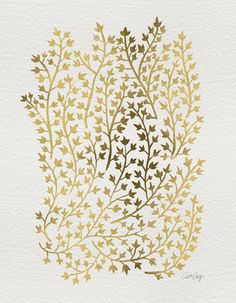 Gold Ivy Stretched Canvas