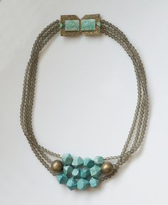 vintage buckle, turquoise magnesite, African brass, frosted gray glass. All about versatility: wear the clasp to the back or side! #ModernMeredith