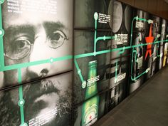 Interactive Wall featured timeline for Heineken Interactive Timeline, Interactive Exhibition, Interactive Walls, Exhibition Display, Museum Exhibition, Interaktives Design, Display Design, Wall Design, Environmental Graphics