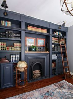 How to Add Moulding to Cabinetry and Built-Ins · DeeplySouthernHome Home Library Rooms, Home Library Design, Home Libraries, Home Office Design, Home Design, Interior Design, Library Study Room, Cozy Library, Design Desk