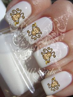 Cute Flying Monkey Banana Nail Art Water Decals Transfers Wraps