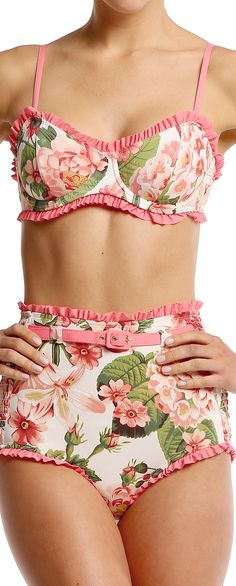 High Waisted Floral Bikini