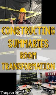 Constructing Summaries Room Transformation Middle School Classroom, First Grade Classroom, Math Classroom, Future Classroom, Classroom Themes, Readers Workshop Notebook, Detective, Construction Theme Classroom, 5th Grade Reading