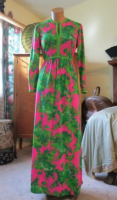 Vintage late 1960s Bright Pink and Green Keram Maxi Dress - $48.00    Era - late 1960s to early 70s   Measurements - Dress is 54 inches long, will fit a 36-37 inch bust, 27 inches waist, 46 inch hips.   Label - Keram New York     http://www.dandelionvintage.com/feature15.html