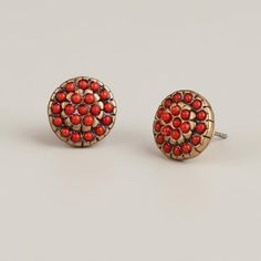 One of my favorite discoveries at WorldMarket.com: Coral and Gold Round Stud Earrings