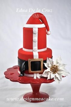 """Santa for Him"" Cake by Edna De la Cruz, Fondant Finish with gumpaste Poinsettia / www.designmeacake.com"