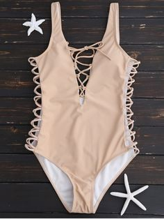 $15.99 Lace Up Plunging Neck Swimsuit - COMPLEXION S