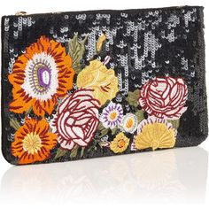 SEQUIN FLOWER CLUTCH (€40) ❤ liked on Polyvore featuring bags, handbags, clutches, sequin purse, embroidered handbags, sequin clutches, flower clutches and flower purse