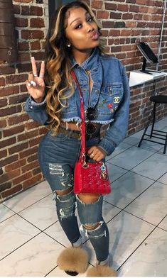 Pin by Beautiful Energy Baddie Hairstyles, Black Girls Hairstyles, Weave Hairstyles, Pretty Hairstyles, Dope Outfits, Girl Outfits, Fashion Outfits, Fashion Killa, Girl Fashion