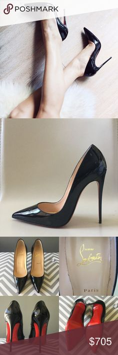 """Louboutin So Kate 120 black patent leather pumps 100% Authentic! Louboutin So Kate 120 black patent leather pumps, Size 37.5. Excellent condition, slight wear on soles.  Comes in original box with dust bag, extra heel tip, and receipt. Retail $675.  """"So Kate's"""" pointed toe and superfine stiletto heel give her an eye-catching allure. Her dramatic pitch provides you with a supremely sexy 120mm lift. In black patent leather, she will become your favorite sky-high pump this season.  * Patent…"""