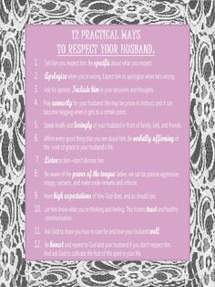12 Practical Ways To Respect Your Husband I hope I can be respectful to you in every way possible, all the time! 30th Wedding Anniversary, Respect Yourself, Endless Love, Mother Teresa, Married Life, Love And Marriage, To My Daughter, Special Day, True Love
