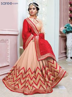 RED AND CREAM GEORGETTE SAREE WITH EMBROIDERY WORK