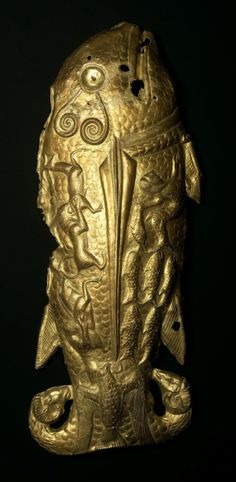 Scythian Gold Fish Of Vettersfelde, late 6th cent BC -This gold Scythian fish is the westernmost discovery of an artifact that can be attributed to the ancient Scythians. It was found by a farmer near Vettersfelde, Poland in 1882. Weighing over 600 grams, it was probably meant to be an ornament on a shield. The body of the fish is covered by little animals in relief, including a panther catching a boar, and a lion catching a deer, and the tail is made up of two rams heads.