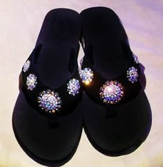 Super cute western cowgirl bling concho flip flops. Sizes 5/6,  9/10    $35.00  www.pamperedcowgirl.com